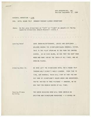 Disneyland Closure Monorail Narration Script