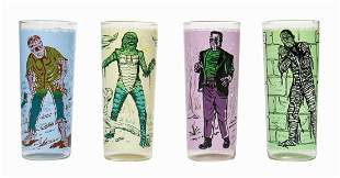 Set of (4) Universal Pictures Monster Drinking Glasses.