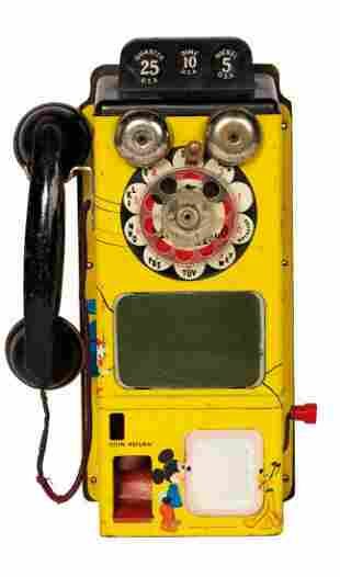 Mickey Mouse Club TV Pay Phone Tin Toy.