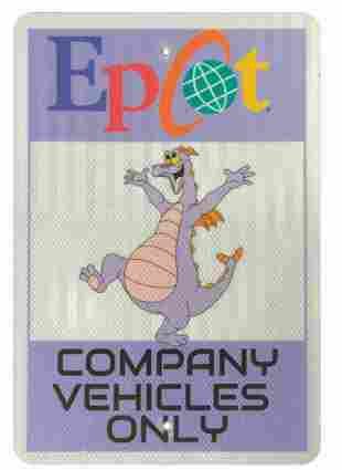 Epcot Figment Vehicle Parking Sign.