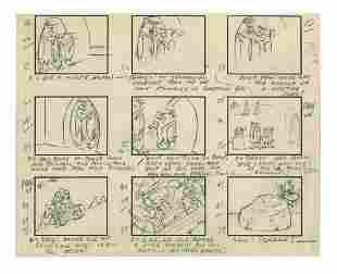 The Flintstones Original Storyboard Page.