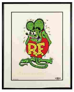 "Ed ""Big Daddy"" Roth Signed Rat Fink Art Print."