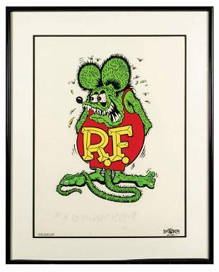 "Ed ""Big Daddy"" Roth Signed Rat Fink Art Print."