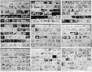 Master Set of The Gremlins Giant Storyboard Artwork.