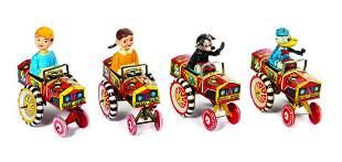 Set of (4) Marx Disney Dipsy Car Tin Toys.