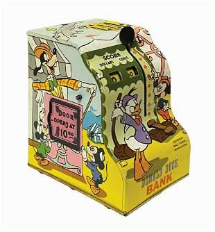 Marx Donald Duck Cash Register Bank Tin Toy.