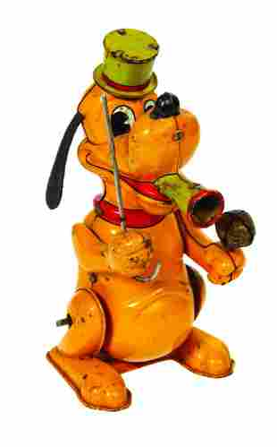 Linemar Pluto the Drum Major Wind-Up Tin Toy.