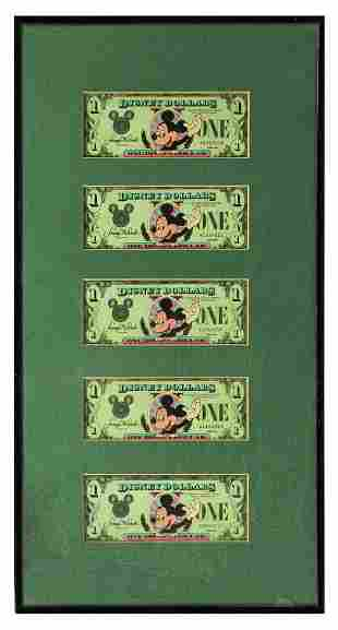Set of (5) Sequential 1987 Mickey $1 Disney Dollars.