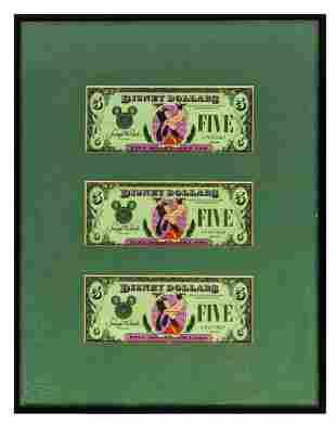 Set of (3) Sequential 1987 Goofy $5 Disney Dollars.
