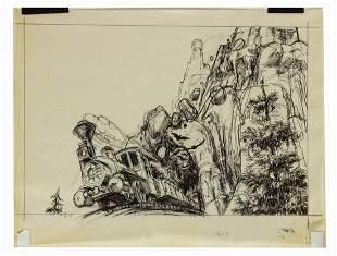Big Thunder Mountain Railroad Concept Drawing.