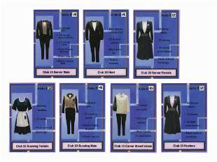Club 33 Cast Member Wardrobe Guide Cards.