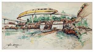 John Hench Wedway Over Lagoon Concept Art Lithograph
