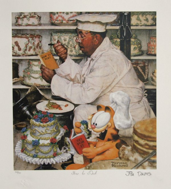 3022: Jim Davis, Garfield, Norman Rockwell Diet Lithogr