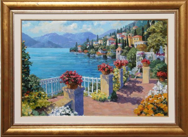 4014: Julian Askins, Como Garden, Oil on Canvas