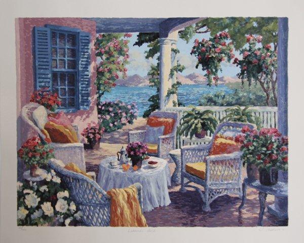 4016: Julian Askins, Lakeside Porch, Serigraph