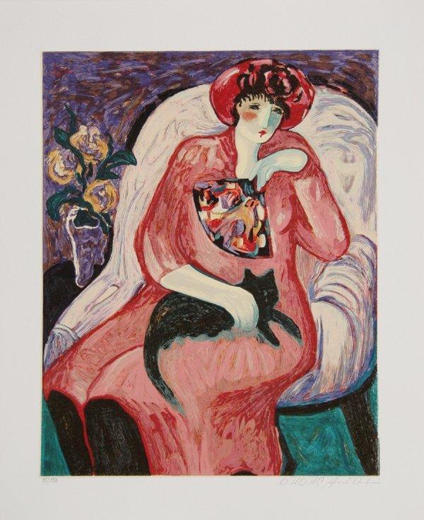4018: Barbara Awood, Woman with Cat, Serigraph