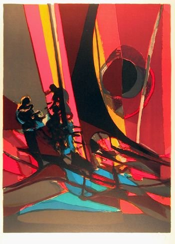 4268: Marcel Mouly, Sailing in the Night, Lithograph