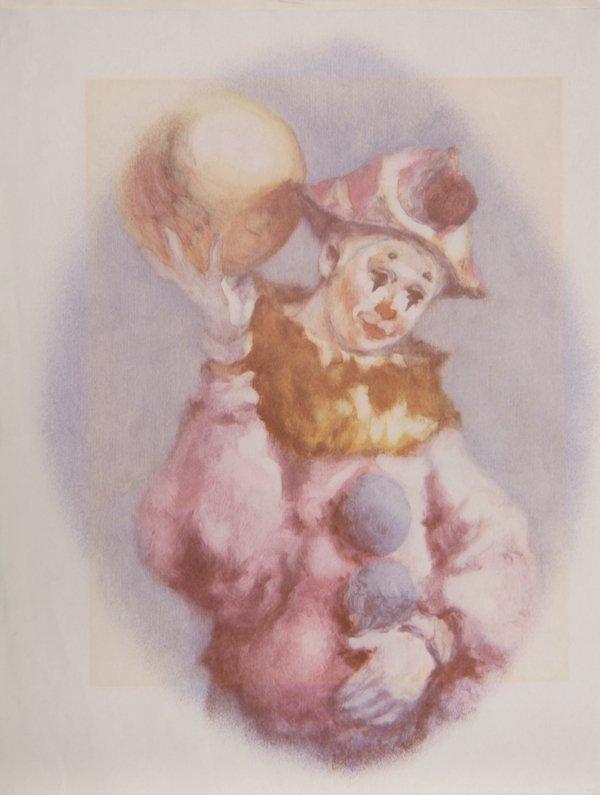 704: P. Alfieri, Clown and Ball, Lithograph
