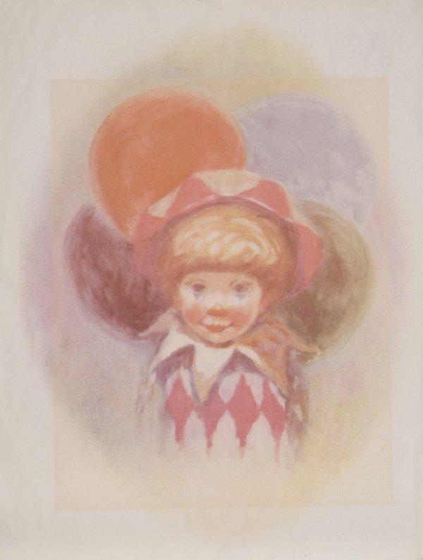 705: P. Alfieri, Clown and Balloons, Lithograph