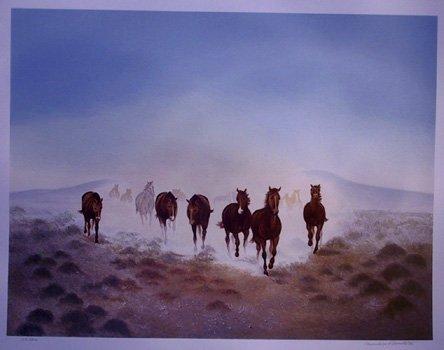 718: Gwendolyn Branstetter, Dust in Desert, Horse Litho