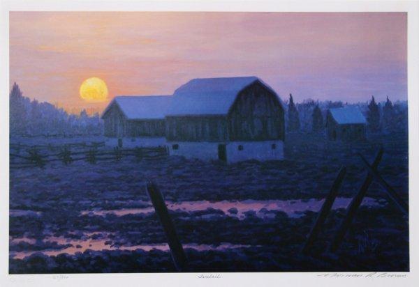 723: Norman Brown, Winter Farm Sunset, Lithograph