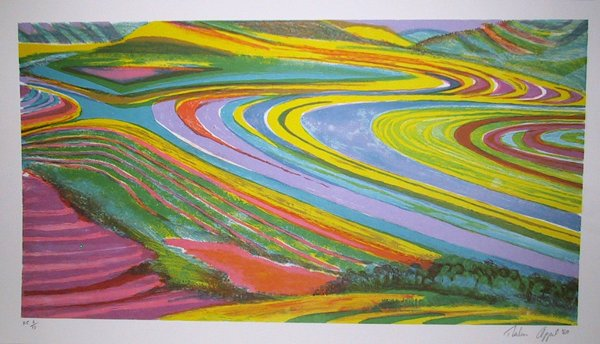 22: Thelma Appel Signed Lithograph, Surreal Landscape