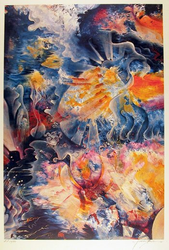3: Isaac Abrams Signed Lithograph, Abstract, Fire & Ice