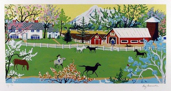 6: Kay Ameche Signed Lithograph, Folk Art, Horses, Farm