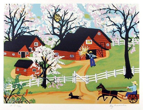 7: Kay Ameche Signed Lithograph, Folk Art, Farm, Barn