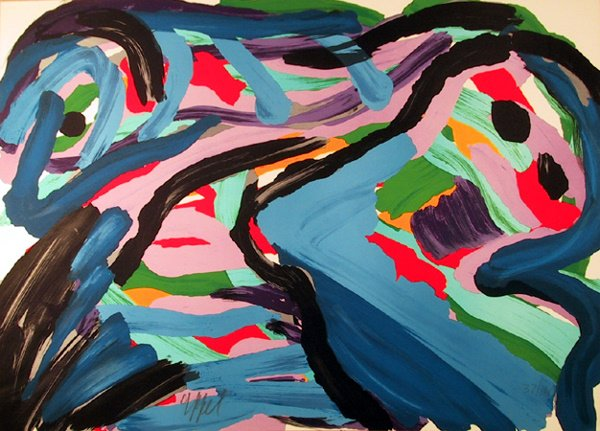 19: Karel Appel Signed Lithograph, Abstract, Floating