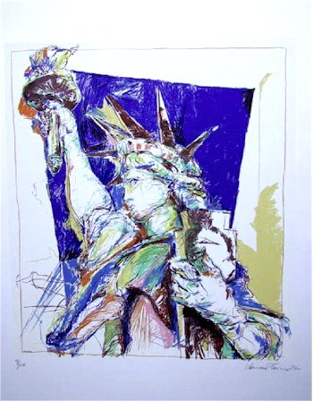71: Vance Caines Signed Silkscreen, Statue of Liberty