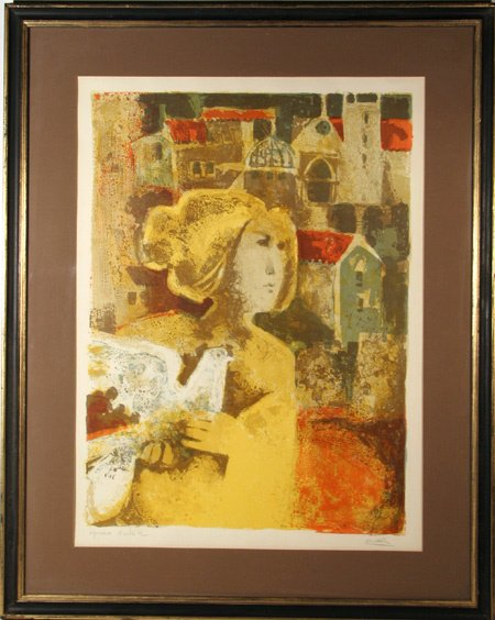 2010: Alvar, Signed Lithograph, Woman With Bird, Framed
