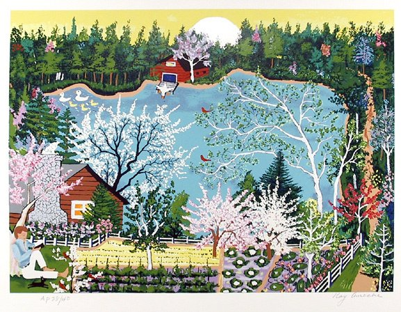 2013: kay Ameche Signed Lithograph, Folk Art, Pond""