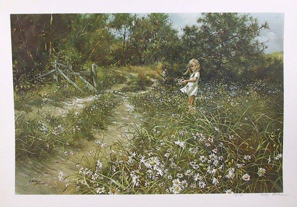 2056: Carolyn Blish Signed Lithograph, Girl, Roadside D