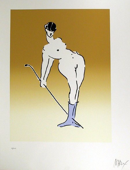 2282: Peter Max Signed Serigraph, Nude With Crop""
