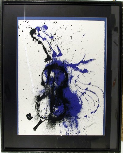 2373: Arman Signed Serigraph, Electric Concerto, Framed