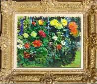 2380: Dimitrie Berea Framed Oil on Canvas, Flowers, Gar