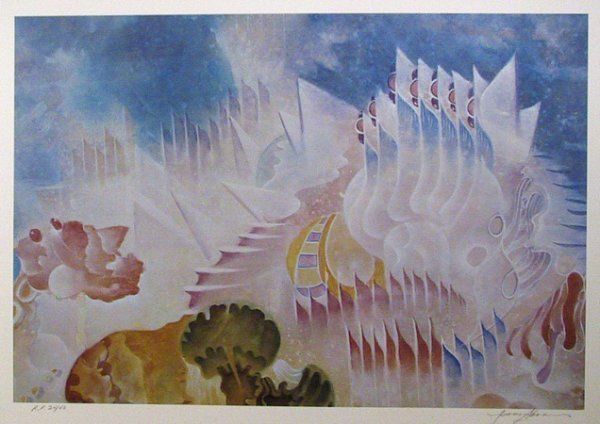 2678: Isaac Abrams Signed Lithograph, Surreal Art