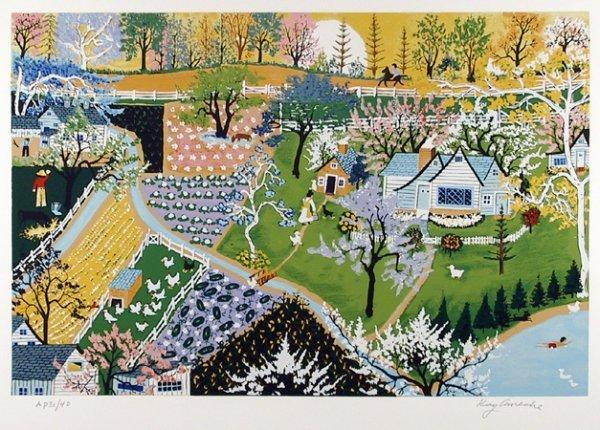 2683: Kay Ameche, Signed Lithograph, Folk Art, Spring F