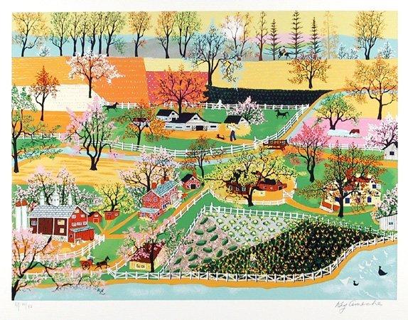 2684: Kay Ameche, Signed Lithograph, Folk Art, Springti