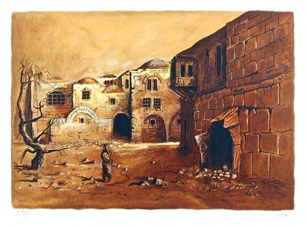 2691: A. Arad Signed Lithograph, Deserted Town