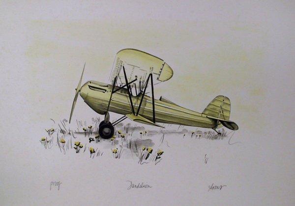 2692: Arons Signed Lithograph, Bi Plane