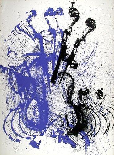 2691C: Arman Signed Serigraph, Electric Concerto
