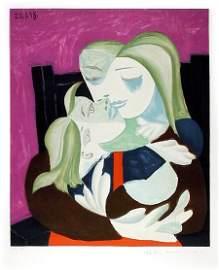2969A: Pablo Picasso Estate Lithograph Femme Et Enfant
