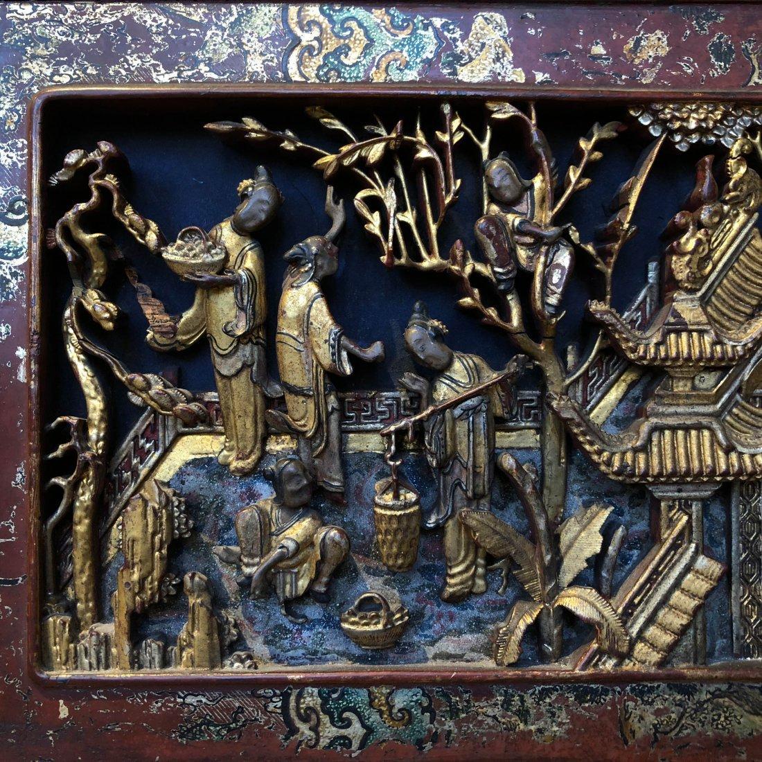 Antique Chinese Gilt & Hardwood Carved Cabinet - 10