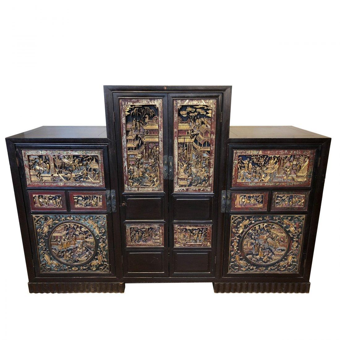 Antique Chinese Gilt & Hardwood Carved Cabinet