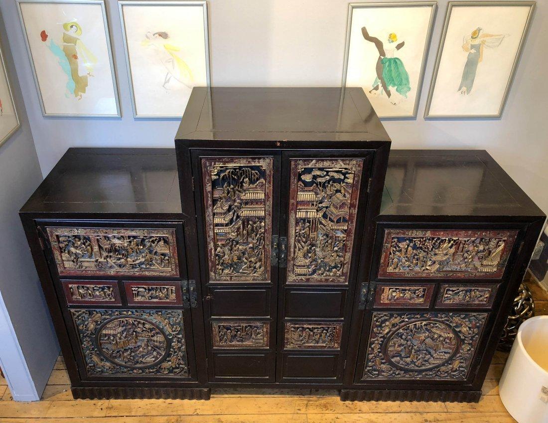 Antique Chinese Gilt & Hardwood Carved Cabinet - 2