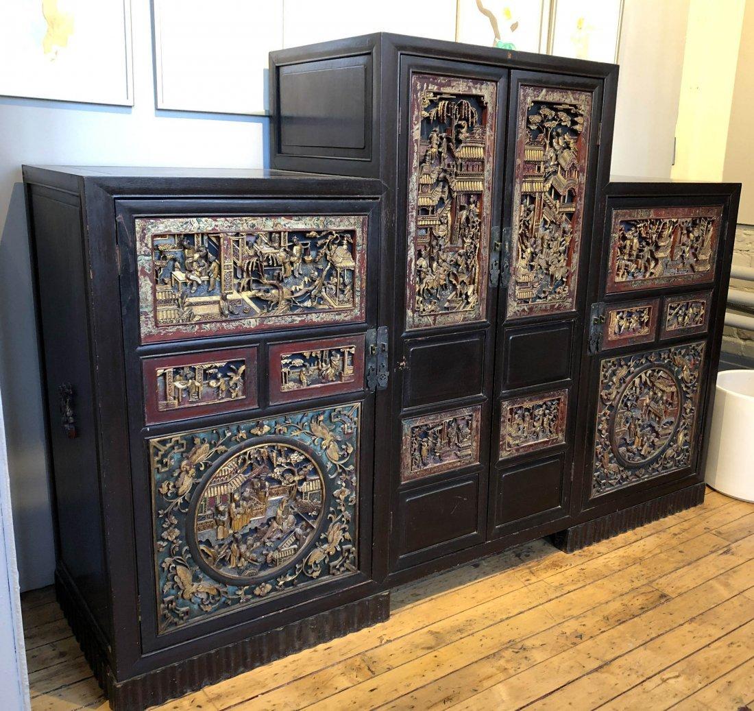 Antique Chinese Gilt & Hardwood Carved Cabinet - 3