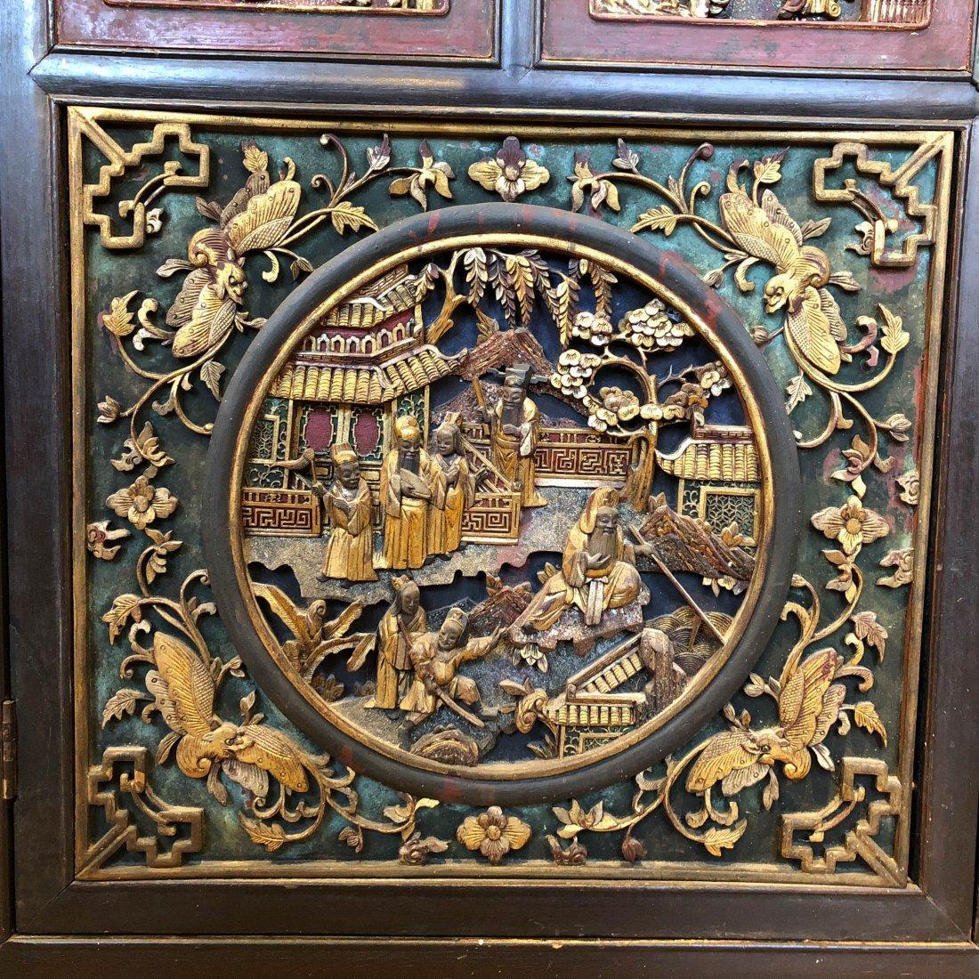 Antique Chinese Gilt & Hardwood Carved Cabinet - 6