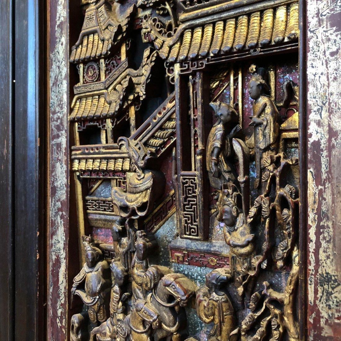 Antique Chinese Gilt & Hardwood Carved Cabinet - 8